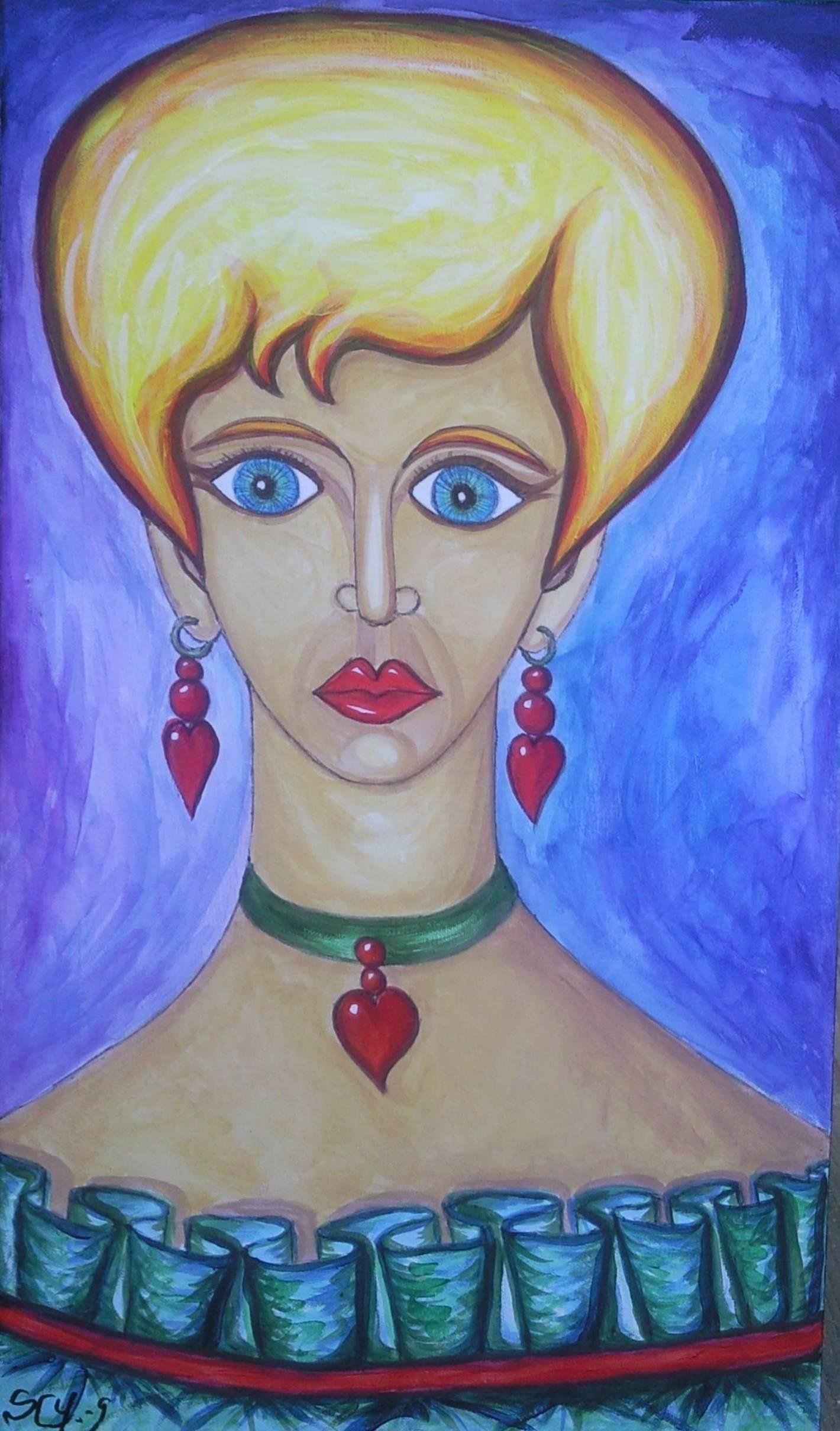 Femme aux bijoux-coeurs